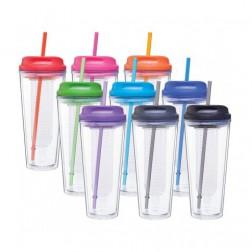 Infuse Tumbler Cup With Colored Lid & Straw - Assorted Colors